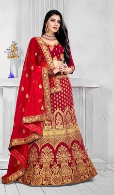 Dark-red cord velvet semi stitched lehenga