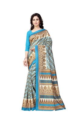 Light blue printed art silk saree with blouse