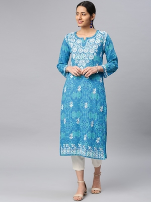 Light-blue embroidered cotton chikankari-kurtis