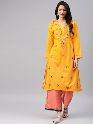 Mustard embroidered cotton chikankari-kurtis