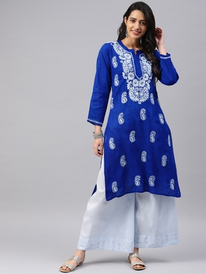 Navy-blue embroidered cotton chikankari-kurtis