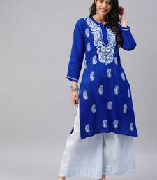 Navy-blue embroidered cotton chikankari-kurtis