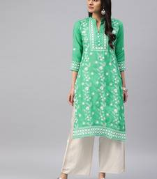 Sea-green embroidered cotton chikankari-kurtis