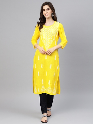 Lemon embroidered cotton chikankari-kurtis
