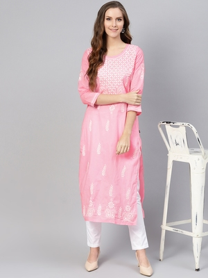 Baby-pink embroidered cotton chikankari-kurtis