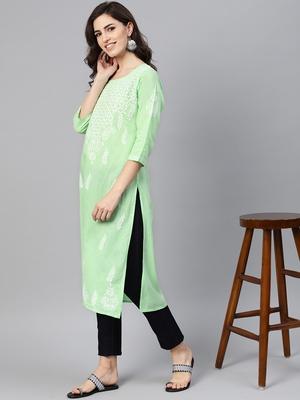 Lime embroidered cotton chikankari-kurtis
