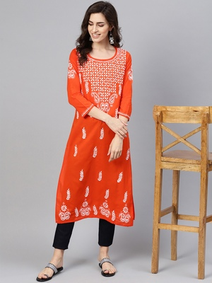Orange embroidered cotton chikankari-kurtis