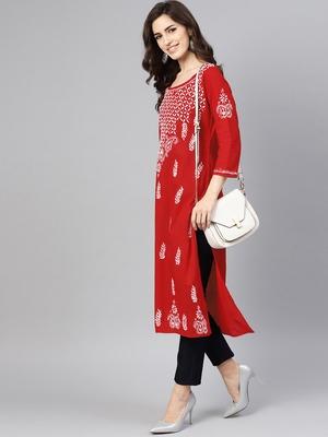 Red embroidered cotton chikankari-kurtis