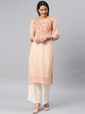 Beige embroidered cotton chikankari-kurtis