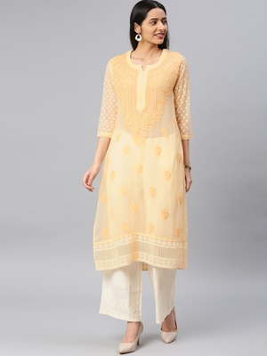 Beige embroidered georgette chikankari-kurtis