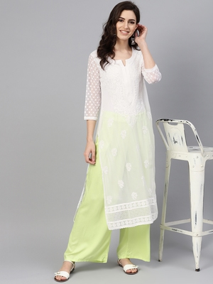 White embroidered georgette chikankari-kurtis