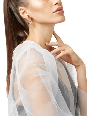 Gold malachite earrings
