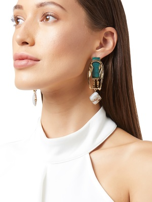 Gold malachite earrings