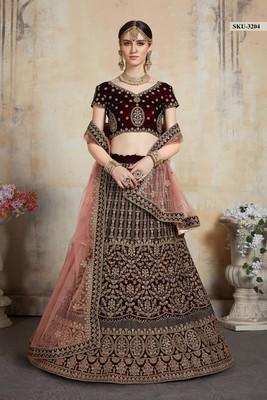 Maroon embroidered velvet unstitched lehenga