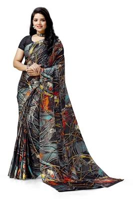 Black printed satin saree with blouse