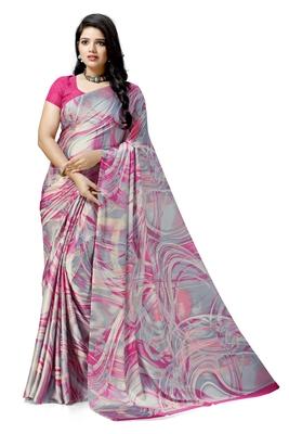 Pink printed satin saree with blouse