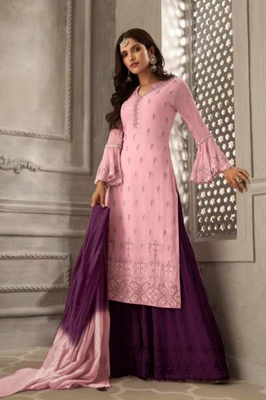 Pink embroidered faux georgette salwar