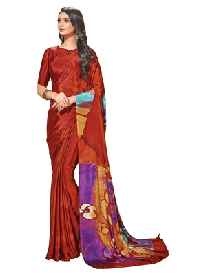 Red printed crepe saree with blouse