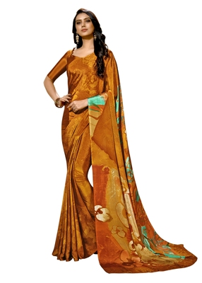 Mustard printed crepe saree with blouse