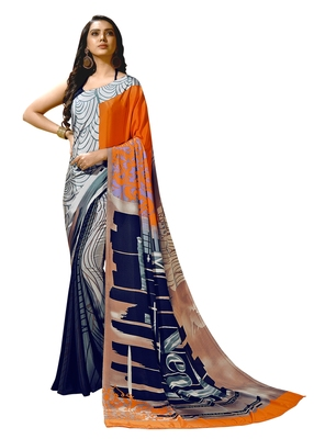 Orange printed crepe saree with blouse