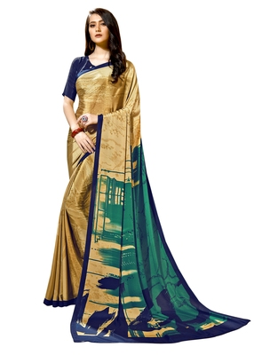 Copper printed crepe saree with blouse