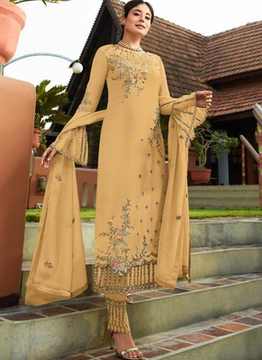 Mustard embroidered georgette salwar