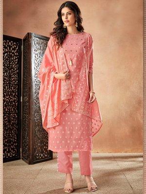Light-pink embroidered cambric salwar