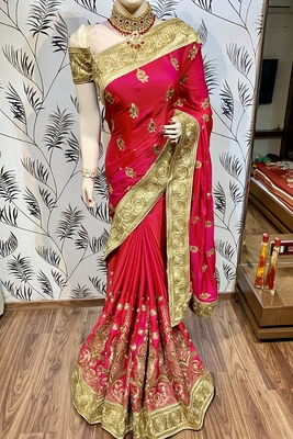 Pink Embroidered Faux Raw Silk Saree With Blouse