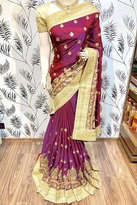 Maroon Embroidered Faux Raw Silk Saree With Blouse