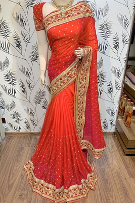Orange Embroidered Faux Raw Silk Saree With Blouse