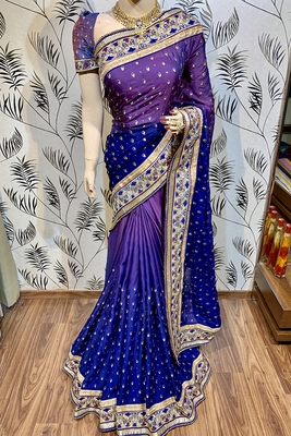 Purple embroidered faux raw silk saree with blouse