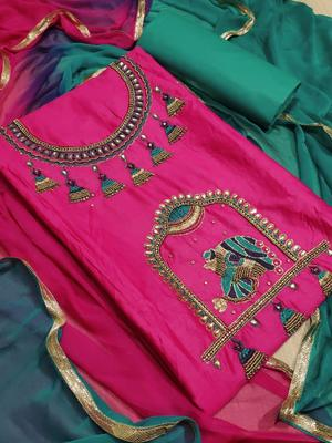 pink embroidered cotton unstitched salwar with dupatta