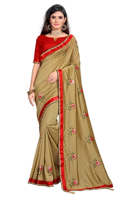 Chiku embroidered poly silk saree with blouse