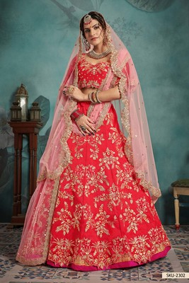 Red embroidered art silk unstitched lehenga
