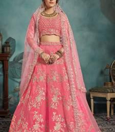 Pink Embroidered Art Silk Unstitched Lehenga