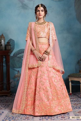 Peach Embroidered Art Silk Unstitched Lehenga