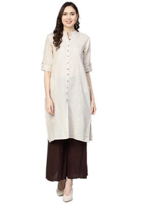 Off-white plain cotton kurtas-and-kurtis