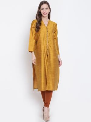 Golden plain dupion silk kurtas-and-kurtis