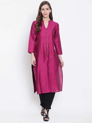 Magenta plain dupion silk kurtas-and-kurtis