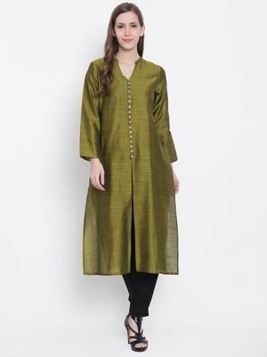 Olive plain dupion silk kurtas-and-kurtis