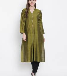 Olive plain dupion silk kurtas-and-kurtis