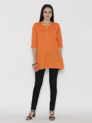 Orange plain cotton short-kurtis