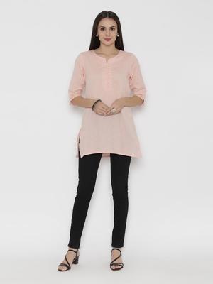 Peach plain cotton short-kurtis