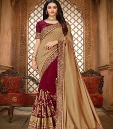 Golden embroidered silk saree with blouse