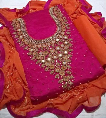 magenta embroidered cotton unstitched salwar with dupatta