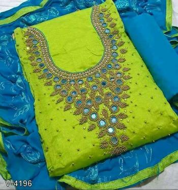 parrot green embroidered cotton unstitched salwar with dupatta