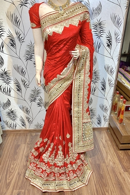 Red Embroidered Pure Art Silk Saree With Blouse