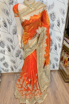 Orange Embroidered Pure Art Silk Saree With Blouse