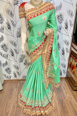 Green Embroidered Chiffon Saree With Blouse