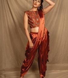 Brown Dhoti Saree with Mirror work